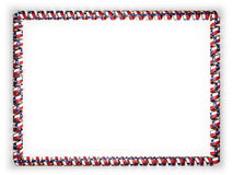 Frame and border of ribbon with the state Texas flag, USA, edging from the golden rope. 3d illustration Stock Photos