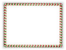 Frame and border of ribbon with the Tajikistan flag, edging from the golden rope. 3d illustration Royalty Free Stock Image