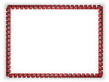 Frame and border of ribbon with the Trinidad and Tobago flag, edging from the golden rope. 3d illustration Royalty Free Stock Image