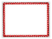 Frame and border of ribbon with the Tunisia flag, edging from the golden rope. 3d illustration Stock Images