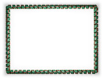 Frame and border of ribbon with the Turkmenistan flag, edging from the golden rope. 3d illustration Stock Image