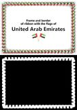 Frame and border of ribbon with the United Arab Emirates flag for diplomas, congratulations, certificates. Alpha channel. 3d illus Stock Photos