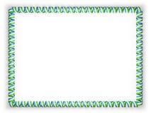 Frame and border of ribbon with the Uzbekistan flag. 3d illustration Royalty Free Stock Image