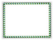 Frame and border of ribbon with the Uzbekistan flag, edging from the golden rope. 3d illustration Royalty Free Stock Photo