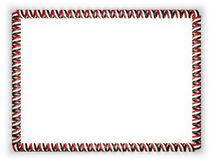 Frame and border of ribbon with the Yemen flag, edging from the golden rope. 3d illustration Stock Image