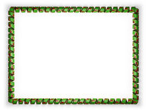 Frame and border of ribbon with the Zambia flag, edging from the golden rope. 3d illustration Royalty Free Stock Photo