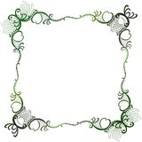 Lace nature branches square frame. Frame border with shades of green lace leafs forming a square with curly crochet branches Stock Photo