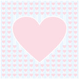 Frame border shaped from pink heart on light blue background Stock Photos