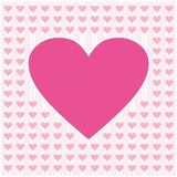 Frame border shaped from pink heart on light pink background Royalty Free Stock Image