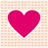 Frame border shaped from pink heart and orange on orange pastels background Stock Images