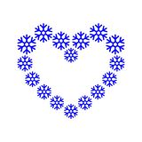 Frame border, snowflake lined up in a heart shape blue color. Heart from snowflakes. Abstract Christmas winter vector illustration. EPS 10 stock illustration
