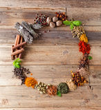 Frame border of spices Stock Photo