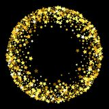 Frame or border of stars. Round gold frame or border of random scatter golden stars on black background. Design element for festive banner, birthday and greeting Royalty Free Stock Photos