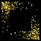 Frame or border of stars. Square corner gold frame or border of random scatter golden stars on black background. Design element for festive banner, birthday and Stock Photography