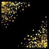 Frame or border of stars. Triangle corner gold frame or border of random scatter stars on black background. Design element for festive banner, birthday and Royalty Free Stock Image