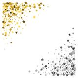 Frame or border of stars. Triangle corner gold and silver frame or border of scatter stars on white background. Design element for festive banner, birthday and Royalty Free Stock Image