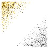 Frame or border of stars. Triangle corner gold and silver frame or border of scatter stars on white background. Design element for festive banner, birthday and Royalty Free Stock Photos