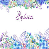 Frame border, template for postcard with purple and blue Hydrangea flowers Royalty Free Stock Photography