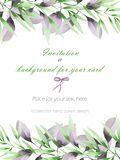 Frame border, template postcard with the tender green and purple branches, hand drawn in a watercolor on a white background, greet Royalty Free Stock Photography