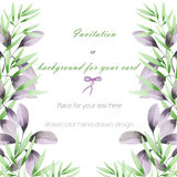 Frame border, template postcard with the tender green and purple branches, hand drawn in a watercolor on a white background Royalty Free Stock Images