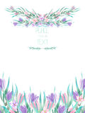 A frame border, template of a postcard with the watercolor crocus flowers and branches, wedding invitation Stock Images