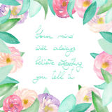 Frame border of tender purple and pink flowers, blue and green leaves painted in watercolor  on a white background, greeting card, Royalty Free Stock Images