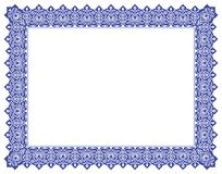 Floral Ornament Negative Outline Frame & Border in Blue Royalty Free Stock Photography