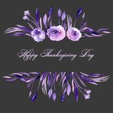 Frame border with watercolor purple roses and branches Royalty Free Stock Photos