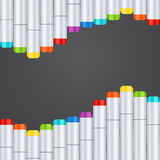Frame, border a wave of art markers all colors of the rainbow on a dark gray background. For design postcard, banner Royalty Free Stock Photo