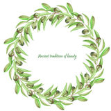 Frame border, wreath of the branches of green olives, painted in a watercolor on a white background, greeting card, decoration pos Stock Photography