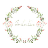 Frame Border, Wreath Of Tender Pink Flowers And Branches With Green Leaves Painted In Watercolor On A White Background Royalty Free Stock Photos