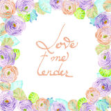 Frame border, wreath of purple and pink flowers, blue and green leaves painted in watercolor  on a white background, greeting card Stock Photos