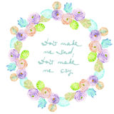 Frame border, wreath of purple and pink flowers, blue and green leaves painted in watercolor  on a white background, greeting card Royalty Free Stock Photo