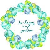 Frame border (wreath) of tender blue and turquoise flowers with the mint leaves painted in watercolor on a white background, greet Stock Photo