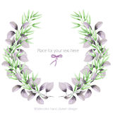 Frame border, wreath with the tender green and purple branches, hand drawn in a watercolor on a white background, greeting card Stock Photography
