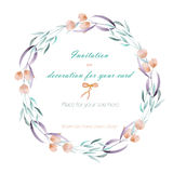 Frame border, wreath of  the tender pink flowers and green branches hand drawn in awatercolor on a white background, greeting card Stock Image