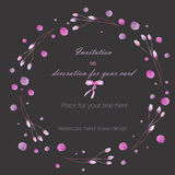 Frame border, wreath of  the tender pink and purple branches and watercolor spots, hand drawn in a watercolor on a dark background Royalty Free Stock Photo