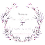 Frame border, wreath of  the tender pink and purple flowers and branches hand drawn in a watercolor on a white background Stock Photo