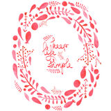 Frame border, wreath with watercolor red abstract leaves and branches  Stock Photography
