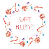 A frame border, wreath with the watercolor striped red-white lollipop and candy cane Stock Image