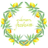Frame border, wreath of yellow lemons on the branches with green leaves painted in watercolor for greeting card Stock Photos