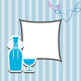 Frame with bottle and glass of wine Stock Photography