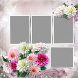 Frame with a bouquet of dahlias in the tender vintage background Stock Photos