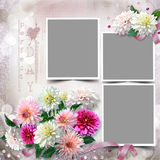 Frame with a bouquet of dahlias in the tender vintage background Stock Photo