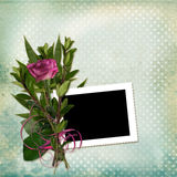 Frame with bouquet on old grunge background Royalty Free Stock Photo