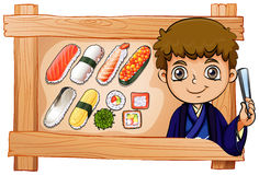 A frame with a boy beside the delectable sushi Stock Images