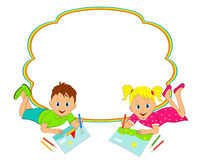 Frame with  boy and girl drawing Stock Image