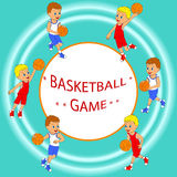 Frame with boy playing basketball Stock Images