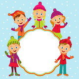 Frame with boys and girls in winter Royalty Free Stock Image