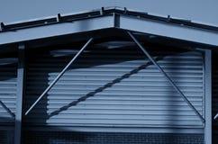 Frame bracing on warehouse wall during sun set.  Stock Photography